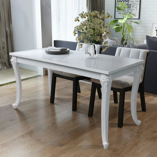 French Curved Legs High Gloss White Dining Table