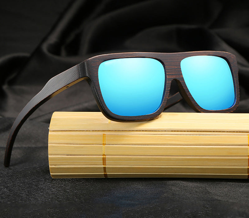 Blue Men's Retro Squared Polarized Bamboo Sunglasses