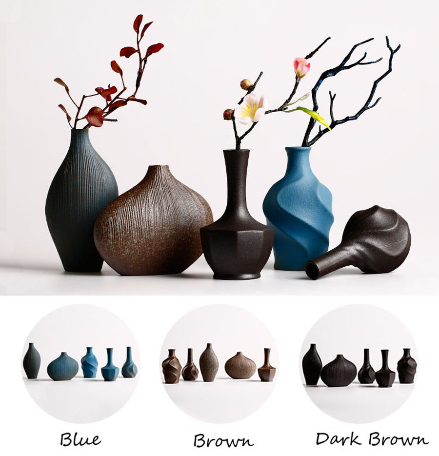 Modern Terra-Cotta Ceramic Tabletop Flower Vase