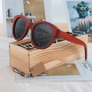 Red Wood Cat Eyes Sunglasses