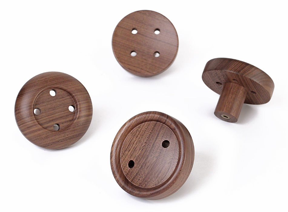 Solid Wood Button Wall Hooks - Coat Rack