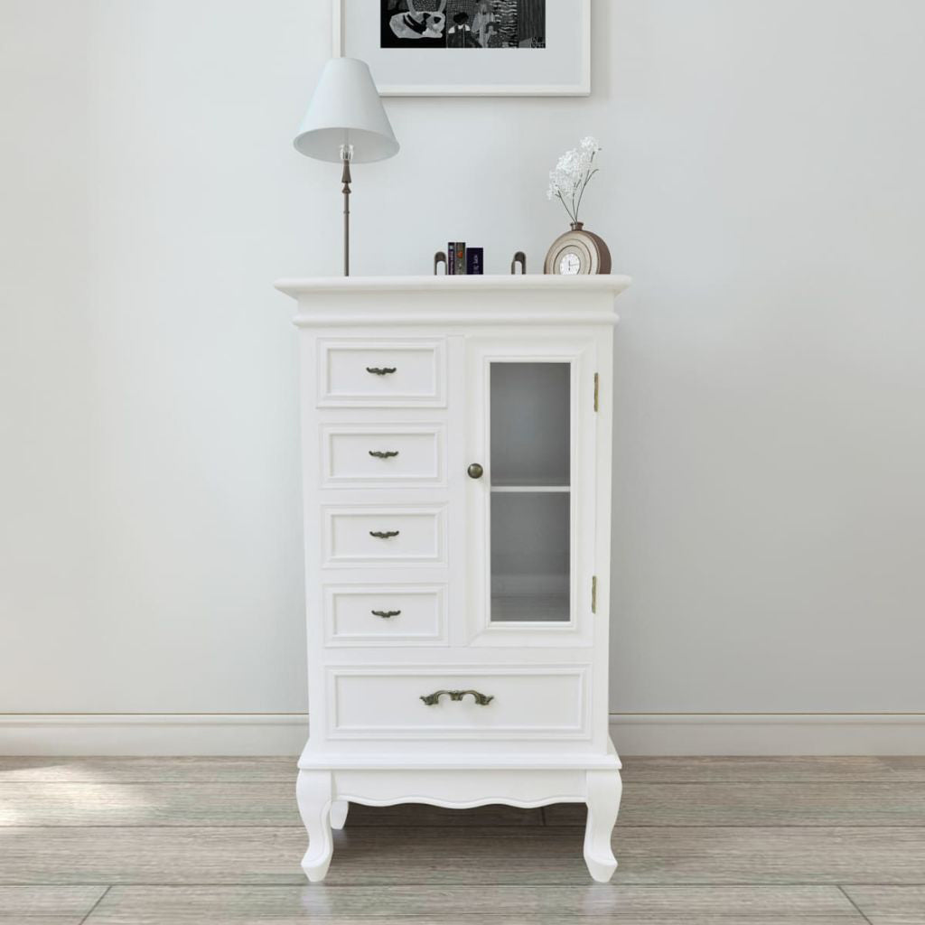 French Curved Legs White Cabinet with 5 Drawers 2 Shelves