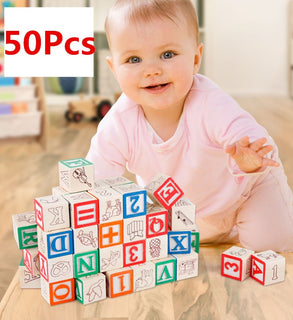 ABC/123 Alphabet Wooden Building Blocks - 50pcs