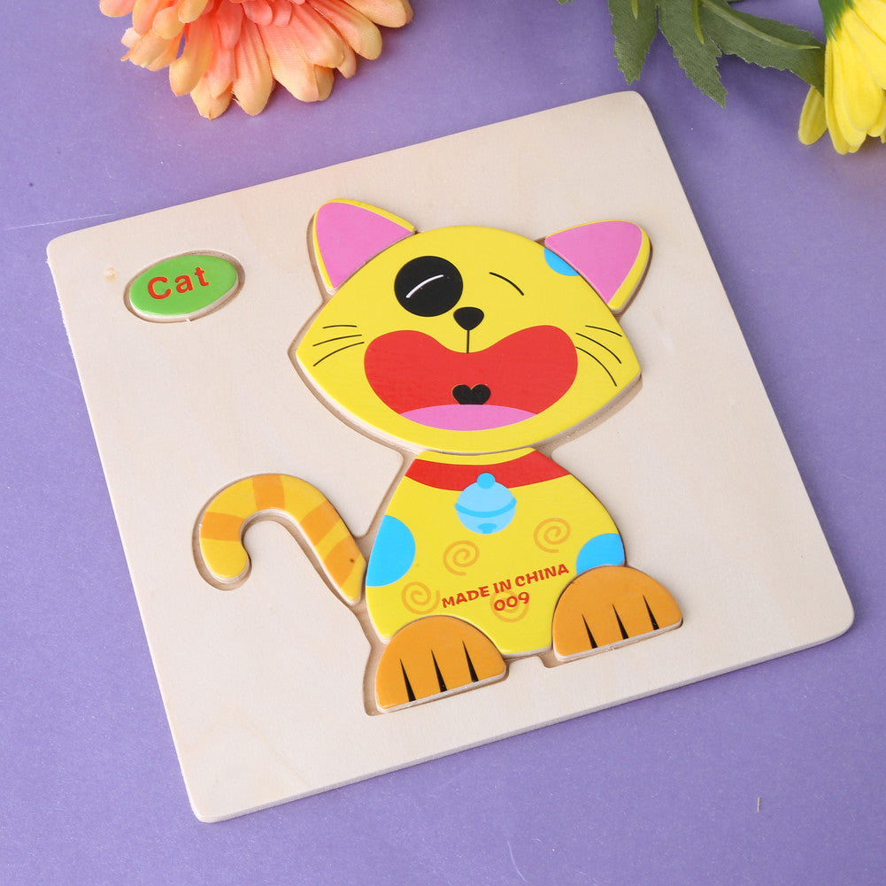 Baby Kids Wooden Cartoon Animals Dimensional Puzzle Toy Force Children Jigsaw Puzzle Education Learning Tools 14 Patten Options