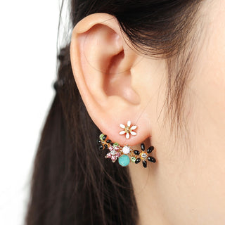 Flower Accent Ear Jacket Earring