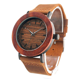 Women's Red Wood Watches with Genuine Leather Strap