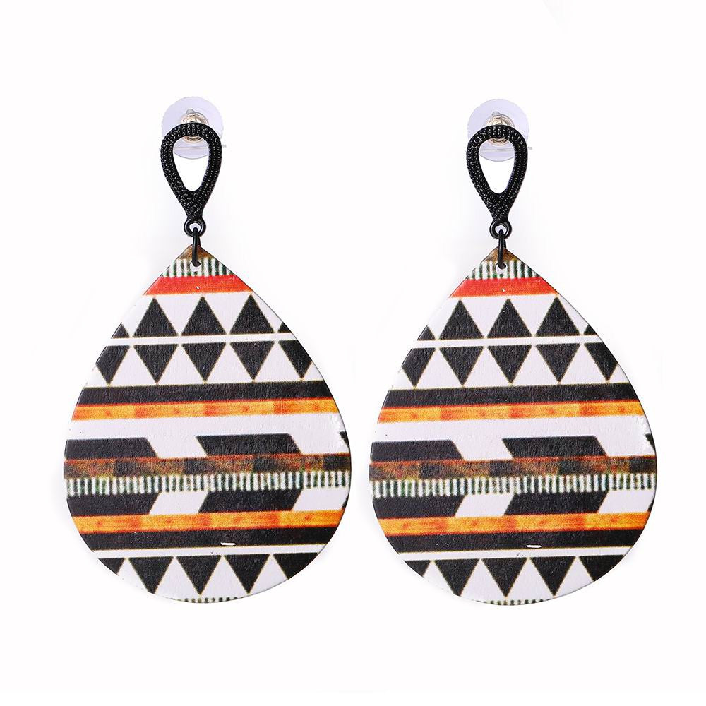 Colorful Printing Design Wooden Earrings