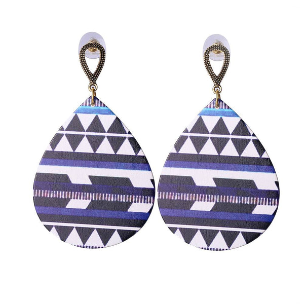 Wood Material Water Drop Earrings Colorful Printing Design Wooden Earing Jewelry
