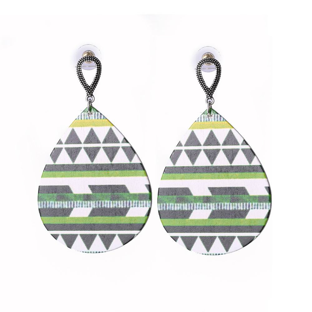 Colorful Water Drop Design Wooden Earrings