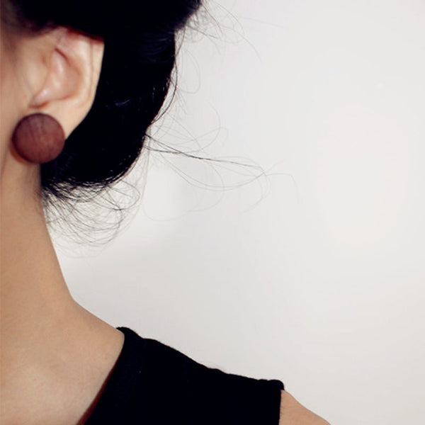 Handmade Small Round Brown Natural Wood Stud Earrings For Women