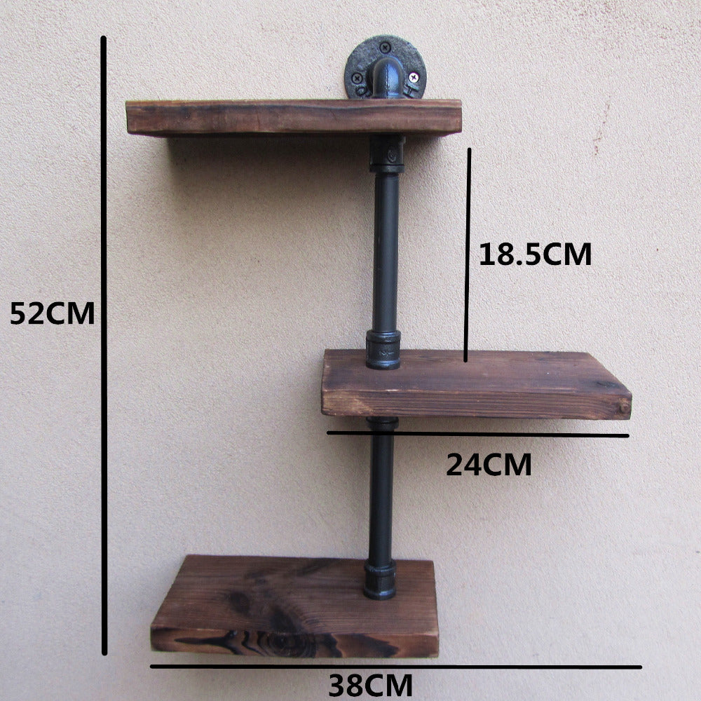 Rustic Iron and Wood 3 Tier Wall Shelves
