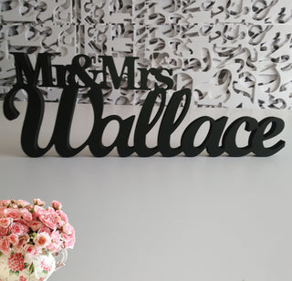 "Custom 6"" Black Mr & Mrs LAST NAME Wedding Sign"