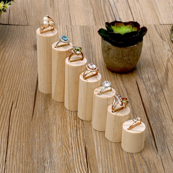 Lot of 7 Wood Ring Display Holder Wood Jewelry Display Stand Ring Showcase Ring Display Stand