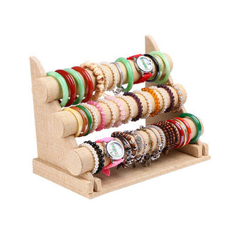 Yellow Linen 3-Tier Bracelet Display Holder Stand Rack