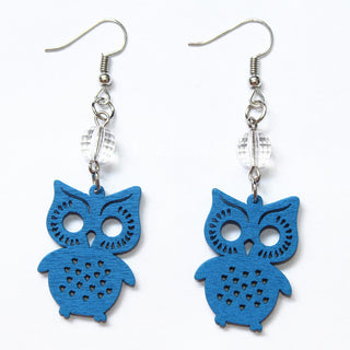 Fashion Carving Wood Owl Earrings Handmade Red Green Blue Orange Owl Earrings Laser Cut Eco Friendly
