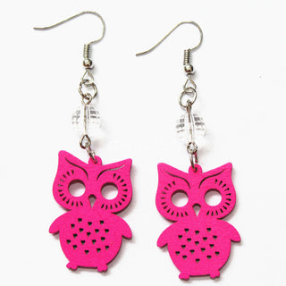 Red Green Blue Orange Owl Earrings