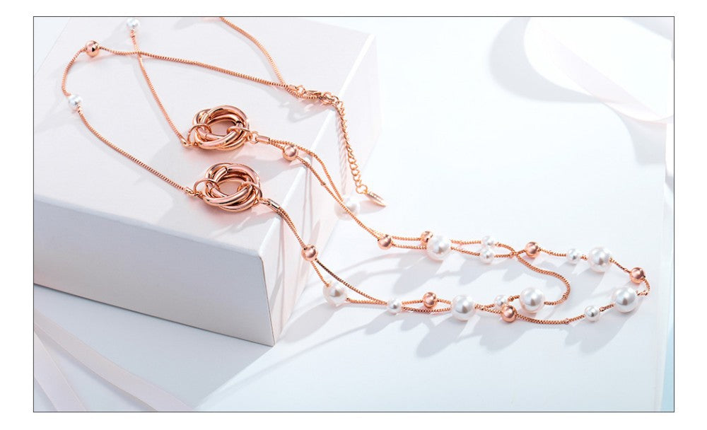 Rose Gold Long Chains Necklaces with Pearl Trendy Accessories