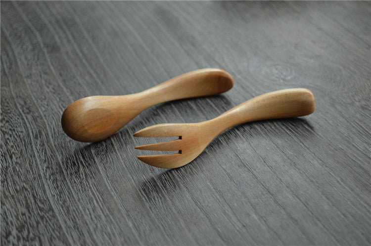 Wooden Tableware Forks and Spoons - 2pcs