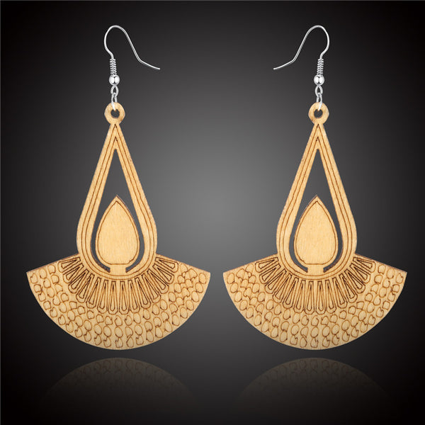 Ethnic Vintage Natural Wooden Earring For Women African Hollow out Long Earring Dangle Earring