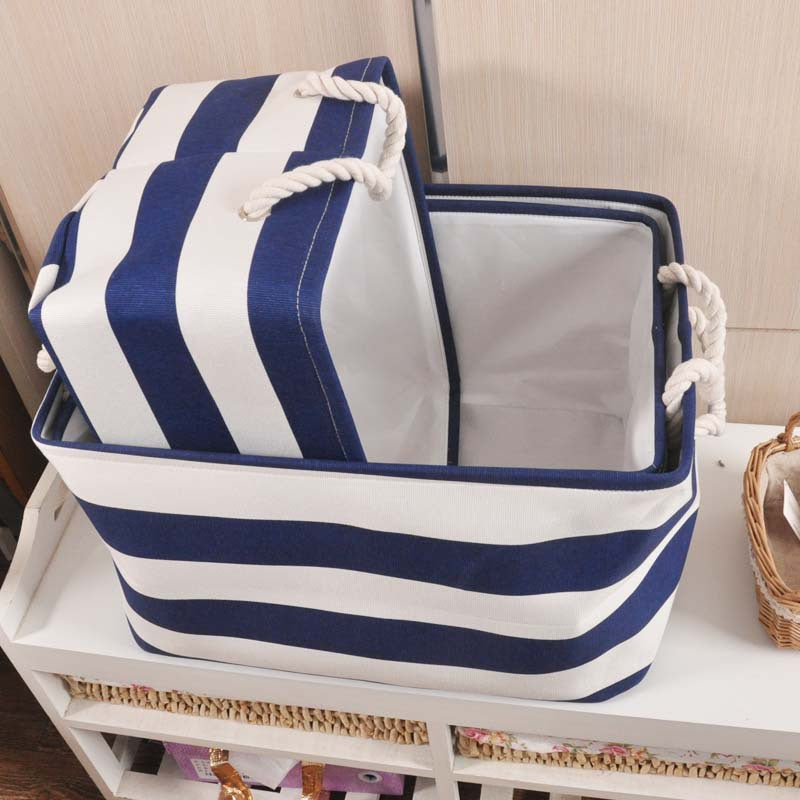 Navy Striped Clothes Laundry Storage Basket for Toy/Book/Towel