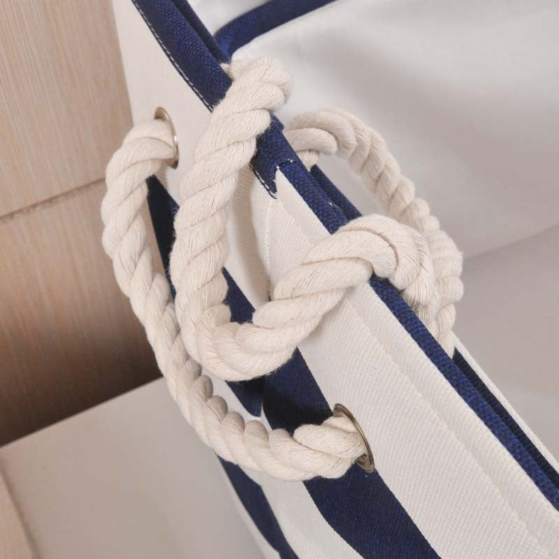 Navy Striped Cloth Storage Basket