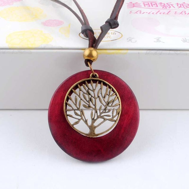 Long Rope Wooden Necklace Tree Pendants