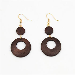 Round Drop Dangle Wood Earrings