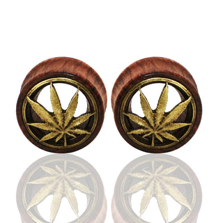Hollow Carve Leaves Natural Wood Ear Plugs Gauge Expanders