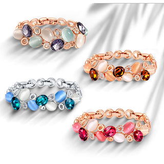 Rose Gold/Silver Crystals Opals Bracelet & Bangle