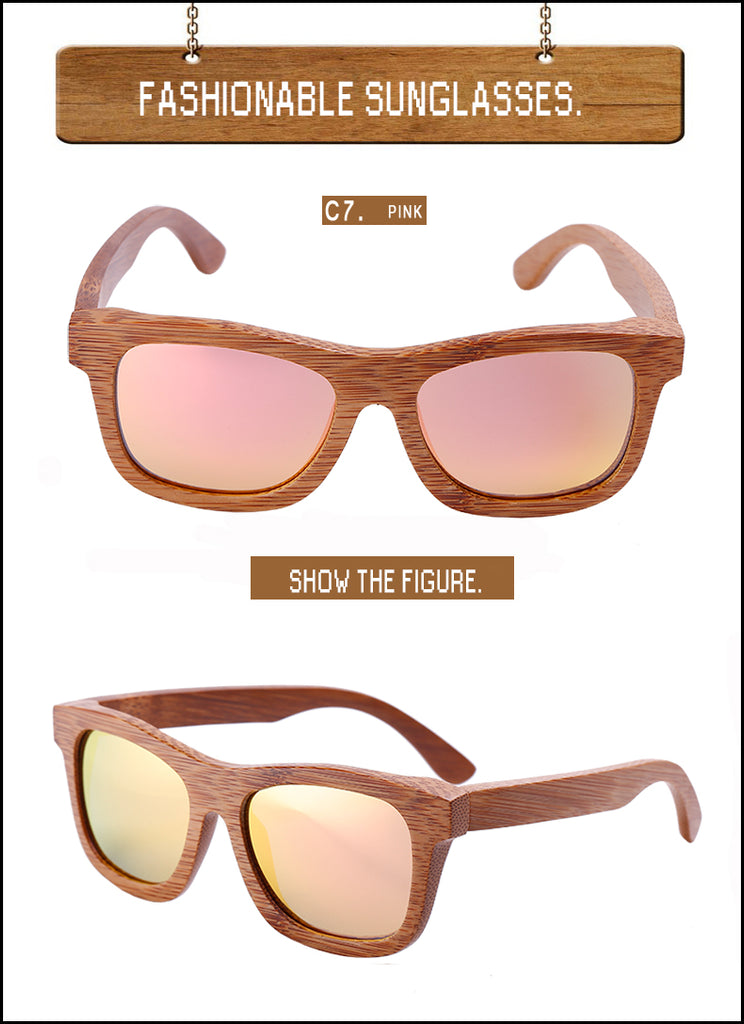 Pink Polarized Handmade Oval Bamboo Sunglasses