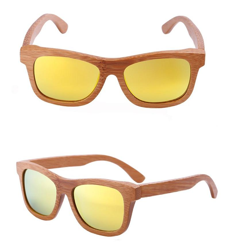Oval Wood Frame Polarized Bamboo Sunglasses Golden