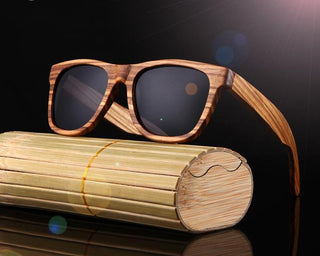 Grey HD Polarized 100% Zebra Wood Framed Sunglasses