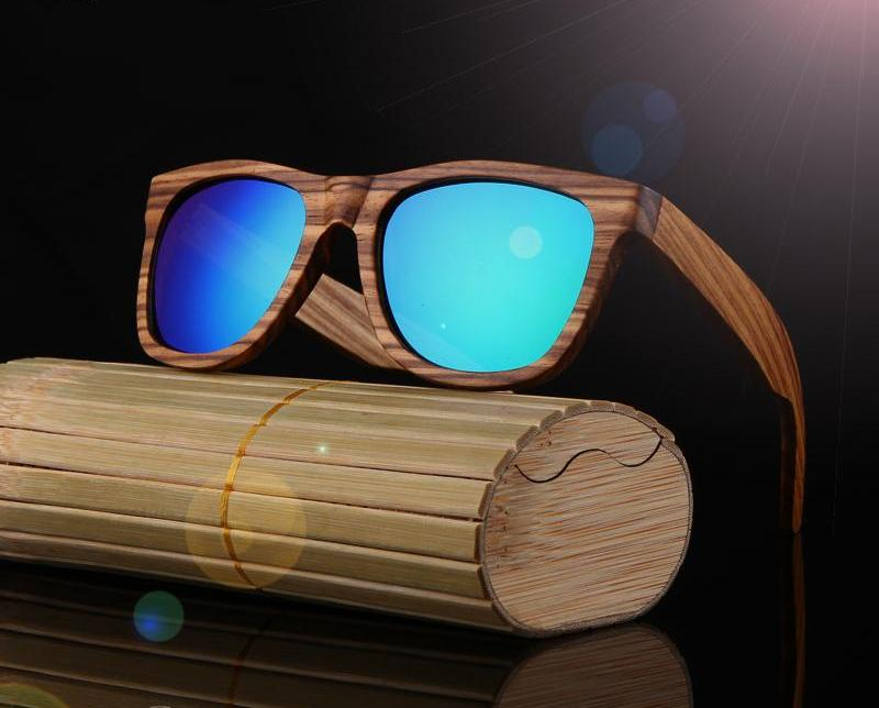 Green HD Polarized 100% Zebra Wood Framed Sunglasses