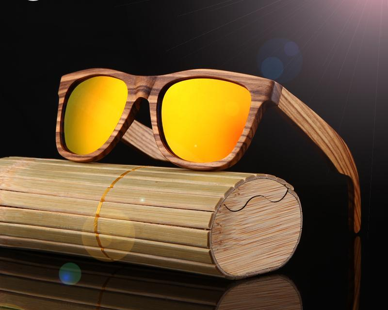 Yellow HD Polarized 100% Zebra Wood Framed Sunglasses