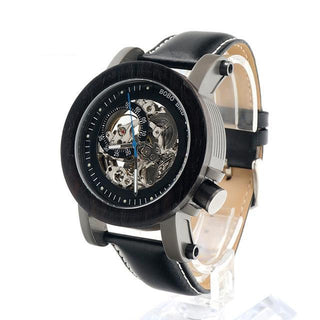 Men's Exposed Bronze Skeleton Leather Watch