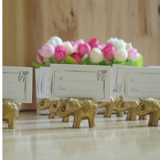 Gold Lucky Elephant Place Card Holders/Photo Holder 10pcs/lot