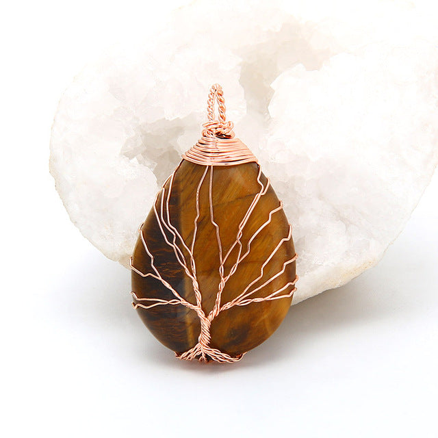 Tree of Life Wrapped Stone Pendant Necklace