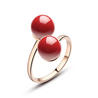 Red Coral Double Ball Adjustable Ring 18K Rose Gold