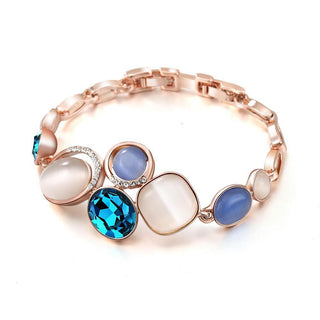 Rose Gold Blue Crystal Bracelet & Bangles