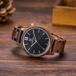 Luxury Dark Oak Wood Grain Quartz Watch