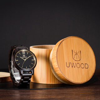 Luxury Black Oak Wood Quartz Watch