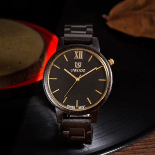 Luxury Black Oak Wood Waterproof Quartz Watch - Luxury Watch