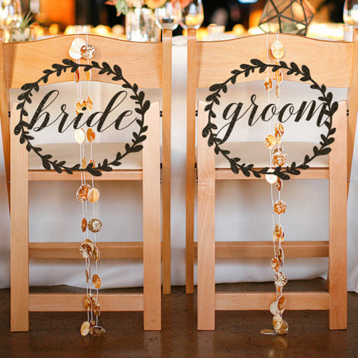 Bride and Groom Chair Signs, Wedding Wreath