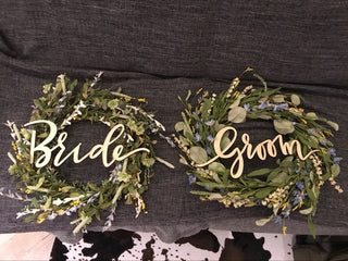 Wooden Bride & Groom Chair Signs Wreath Sashes - Vintage & Rustic Wedding Sashes