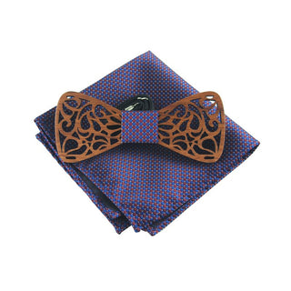 Exquisite Carved Wooden Bow Ties with Purple Handkerchief