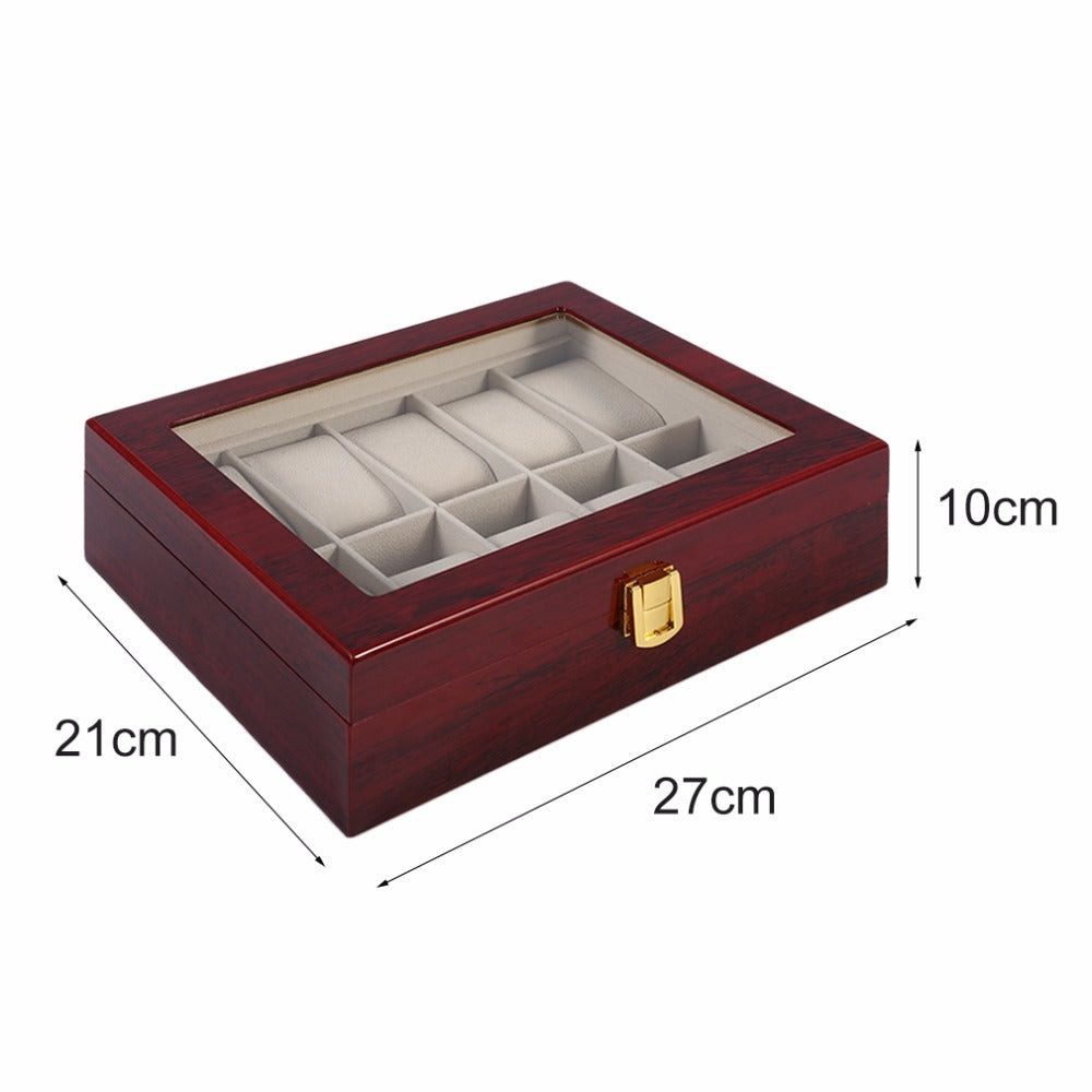 10 Grids Solid Wooden Watch Holder Case
