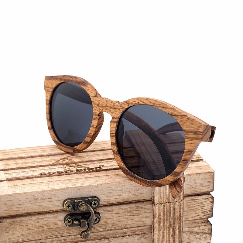 Vintage Zebra Wood Bamboo Polarized Sunglasses