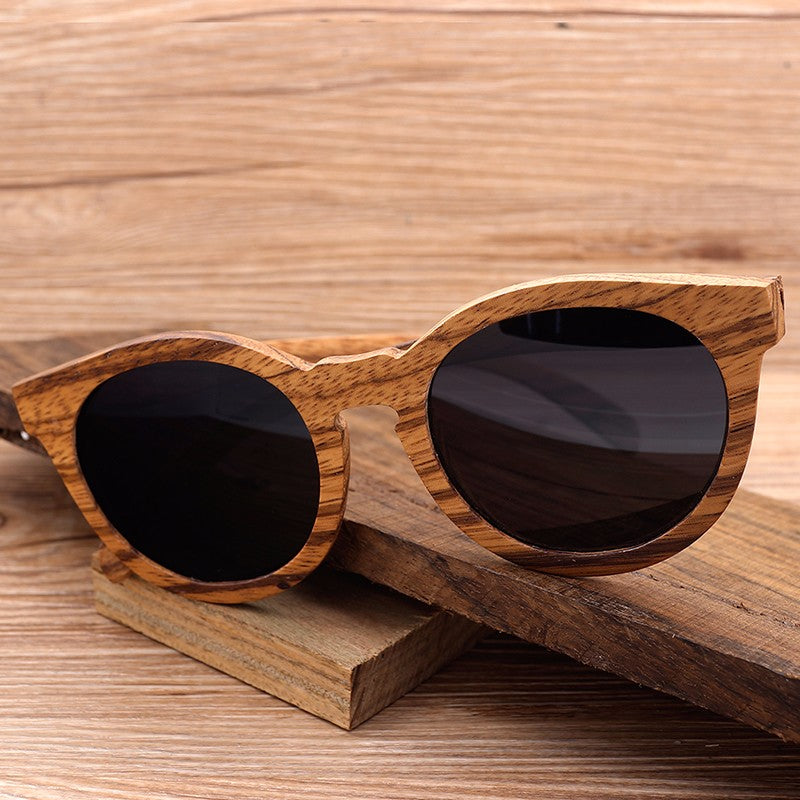 Vintage Zebra Wood Bamboo Polarized Sunglasses Gift for her