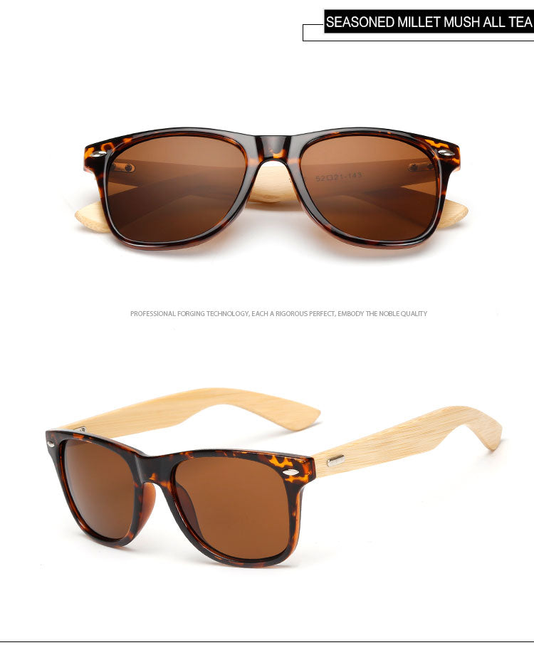 Brown Framed Bamboo Wood Sunglasses