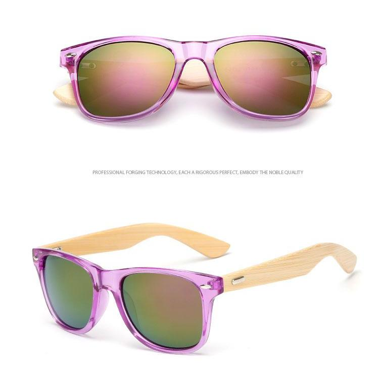 Purple Framed Mirror Bamboo Sunglasses